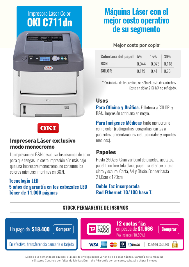 Impresora Láser Color OKI C711DN | Impresoras láser e inkjet ...